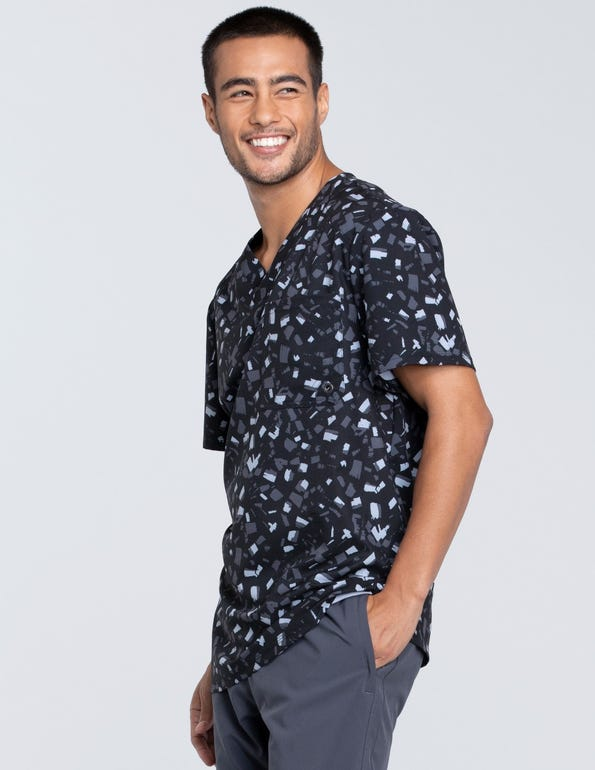 Men's Brush Stroke Black V-Neck Top
