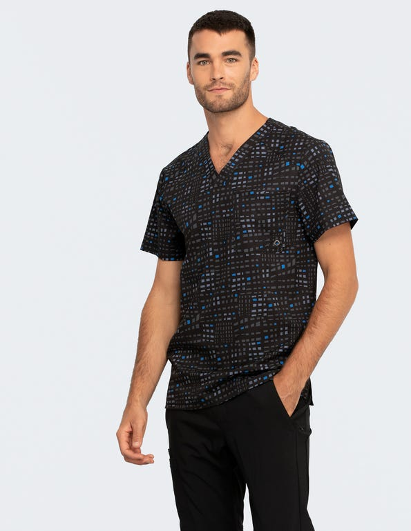 Glowing Grid Men's V-Neck Top