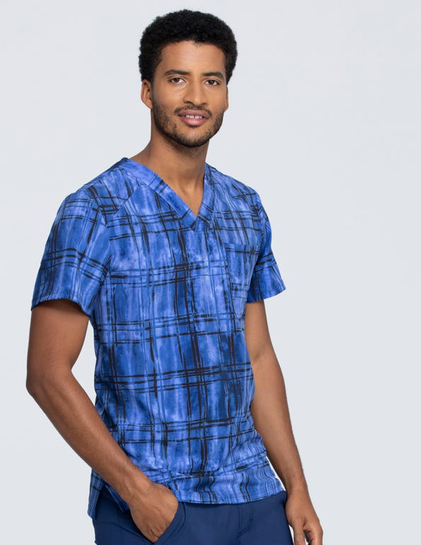 Plaid Tie Dye Men's V-Neck Top
