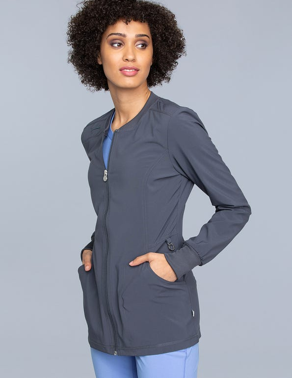 Women's Zip Front Warm-Up Solid Scrub Jacket