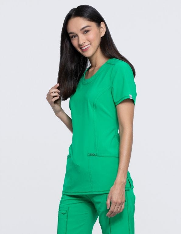 Women's Split Round Neck Solid Scrub Top