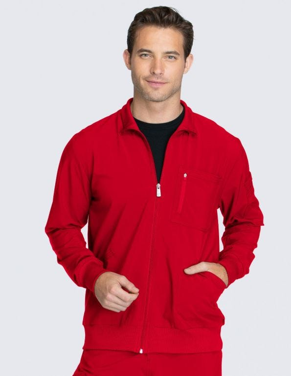 Men's Zip Front Warm-Up Solid Scrub Jacket