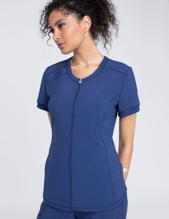 Zip Front V-Neck Top