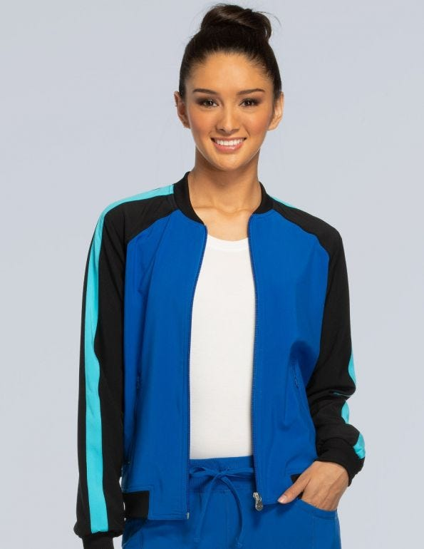 Women's Zip Front Raglan Sleeve Solid Scrub Jacket