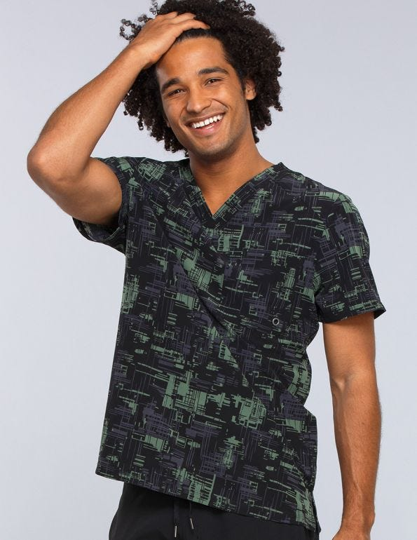Men's V-Neck Abstract Print Scrub Top