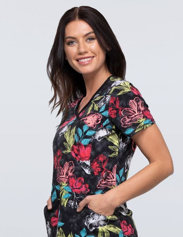 Flor-ever And Always Mock Wrap Top