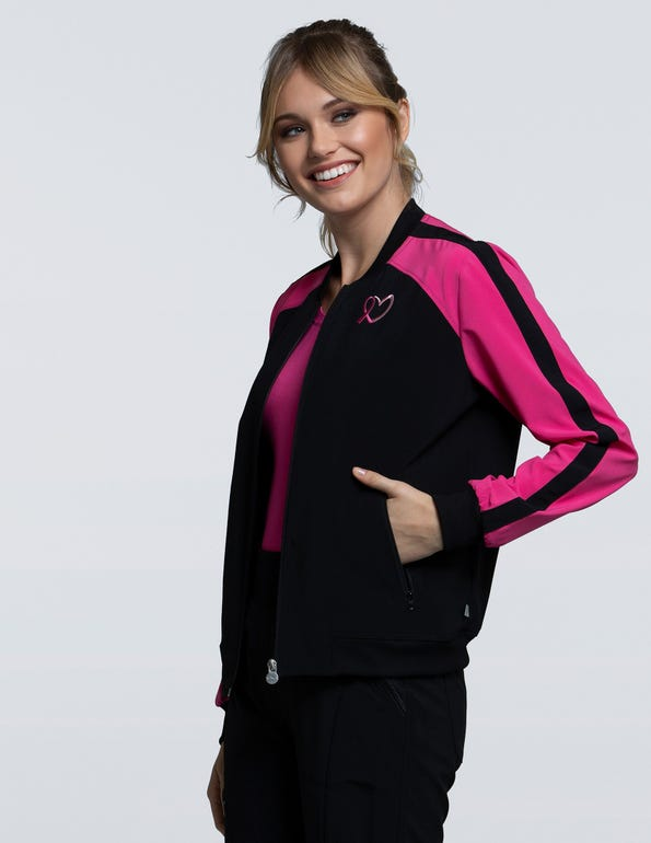 Women's Zip Front Colorblock Bomber Jacket
